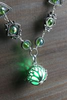 Green Glowing Tree of Life Necklace by CatherinetteRings