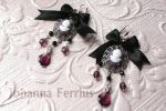 Black 'n' Rose Antique Goth Baroque Cameo Earrings by Johanna-Ferrius