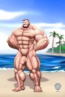 Bluto naked and flexing by Blathering
