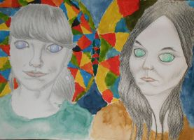 Two psychedelic girls by Qulithinoren