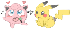 Jigglypuff and Pikachu by Blue-Chica