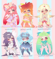 Six Virtuous Adoptables CLOSED by Lolisoup