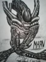 MARV the Xenomorph Tattoo by OnyxWildcat