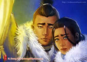 Sokka and Katara by lilsuika