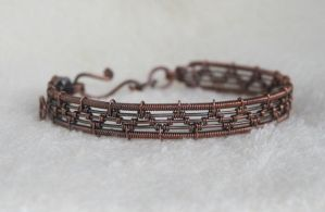 Wire wrapped antique copper bracelet by Linuziux