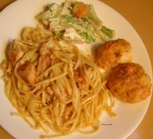 Caesar Salad, Biscuits, and Pasta by rcmacdonald