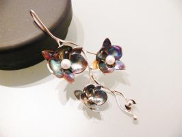 Patinated silver orchid pendant by irineja
