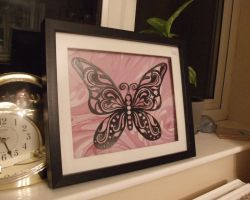 Pink Flutterby Papercut by ladysilver2267