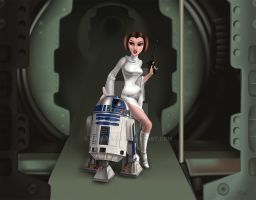 Princess Leia and R2 by ValerieJB