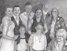 Family Portrait of 9 in Graphite by DragonPress