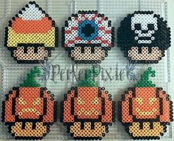 Halloween Mushrooms by PerlerPixie