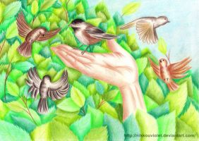 Hand with Birds by NikkouViolet