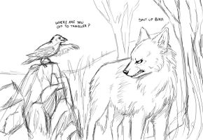 Bird and Angry Wolf Sketch by SparksOfTheStars