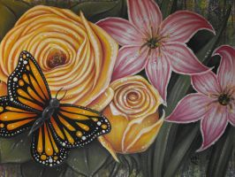 Butterfly and Flowers by vampireheartagram27