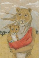 Lioness and her cub by NizhoniWolf