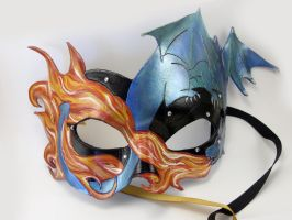 Dragon Fire Masquerade Mask by LucyLovesLeather