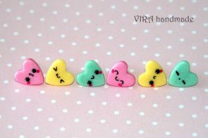 Set of 3 pairs kawaii heart ear studs by virahandmade