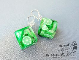 Earrings - Mojito by polyflowers