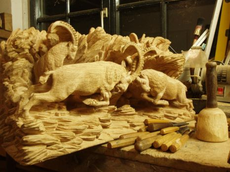 Alpine Ibex in progress 17 by woodcarve