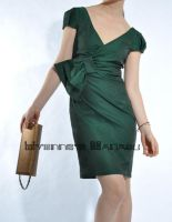 Green Cotton Bow Shirft Dress1 by yystudio