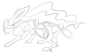 Suicune Lineart by Thunderdragon158