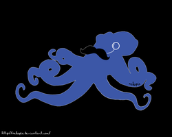 mustached octopus with monocle by Nekopie