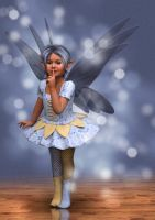 Shushing Fairy with Blue Glitter by Elle-Arden