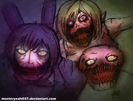 FNAF4 - Nightmare Bonnie and Nightmare Chica by MasterOhYeah