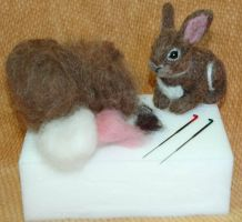 1st Needle Felted Kit -  BUNNY by amber-rose-creations