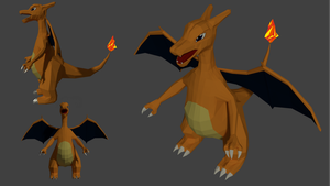 Charizard Low-poly by xeijin06