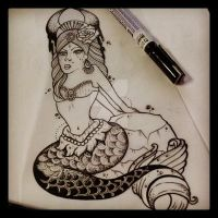 mermaid sketch by ShellyZTrueheartInk
