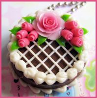 Rose Chocolate Cake Necklace by cherryboop