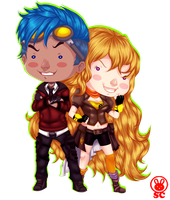 PLIMPLE~BEACON'S POWER COUPLE (RWBY~YANG+NEPTUNE) by LittleMissSquiggles