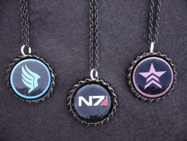 Mass Effect N7 Paragon Renegade Necklaces by Monostache