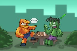Thing defeats Hulk by thedarkgecko
