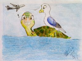 Gull on a Turtle's Shell by SammfeatBlueheart