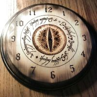 The Eye of Mordor Clock - wood burning by ckatt01
