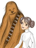 leia and chewbacca by aurangelica