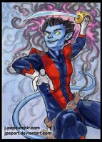 Nightcrawler Sketch Card by JPepArt