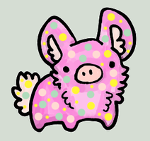 Sunny Speckled PigBunny - Wiggly (RESERVED GIFT) by MysticStar-NiChan