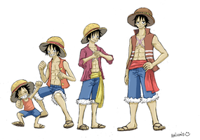 One piece, Luffy grow up by heivais