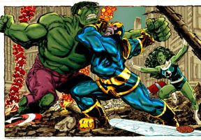 thanos vs hulk byrne by namorsubmariner