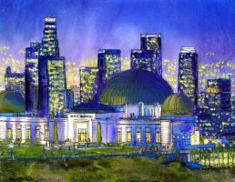 Griffith Park Observatory with LA Nocturne by RandySprout