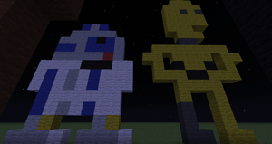 R2-D2 and C3PO in Minecraft by branduboga