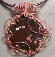 Copper Ore and Copper Wire Curly-Q Pendant by HeatherJordanJewelry