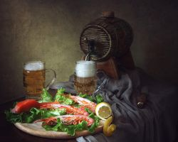 Still life with beer and prawns by Daykiney