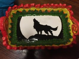 Wolf in a forest fire on a casserole dish by Zchanning