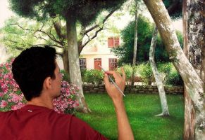 realistic painting backyard by fabianoMillani