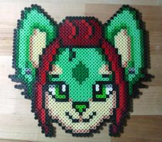 Fursona perler bead custom badge #5 by Kin-Karo