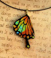 Fiery Swallowtail Wing Fused Glass Pendant by FusedElegance